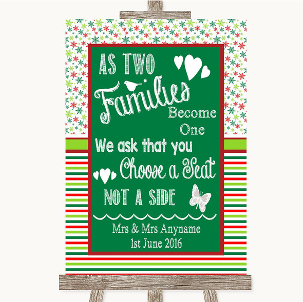 Red & Green Winter As Families Become One Seating Plan Personalised Wedding Sign