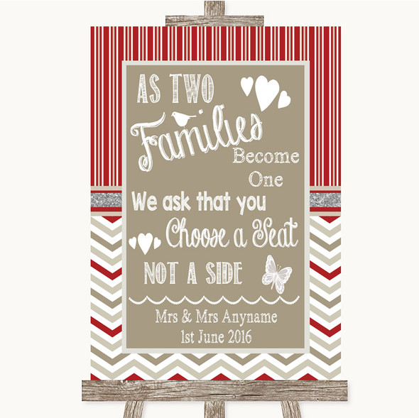 Red & Grey Winter As Families Become One Seating Plan Personalised Wedding Sign