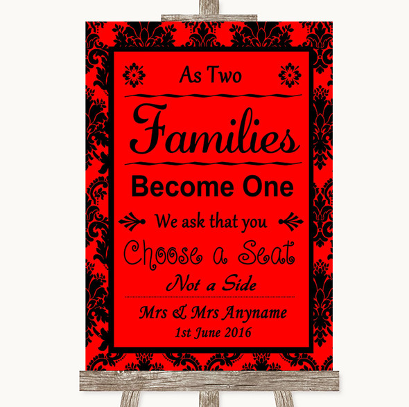 Red Damask As Families Become One Seating Plan Personalised Wedding Sign