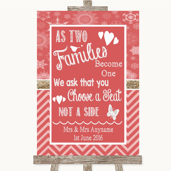 Red Winter As Families Become One Seating Plan Personalised Wedding Sign