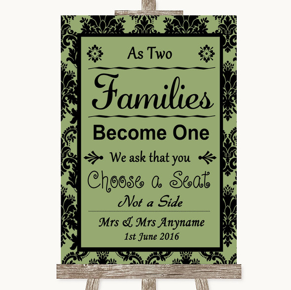 Sage Green Damask As Families Become One Seating Plan Personalised Wedding Sign