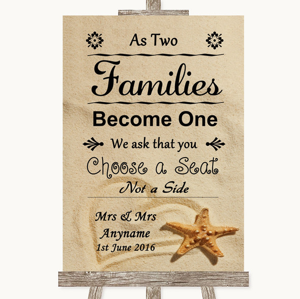 Sandy Beach As Families Become One Seating Plan Personalised Wedding Sign