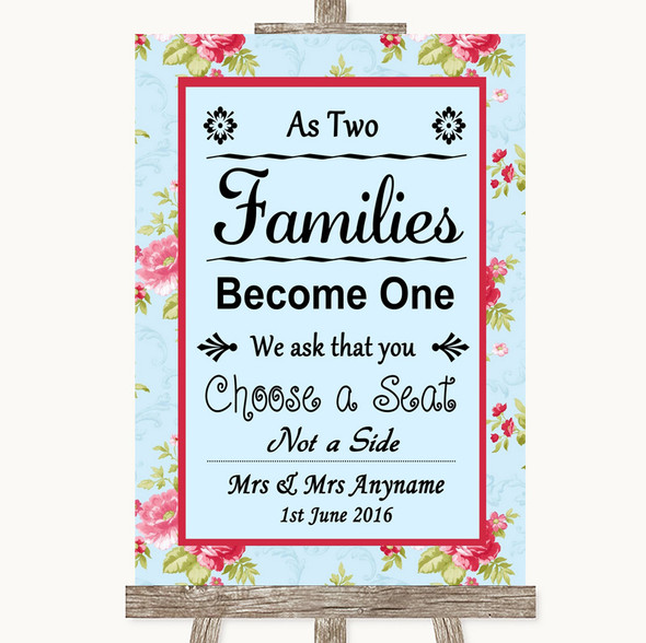 Shabby Chic Floral As Families Become One Seating Plan Personalised Wedding Sign