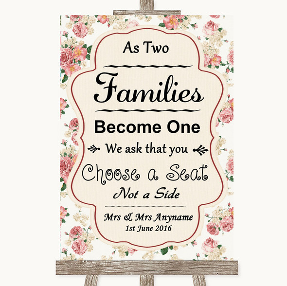 Vintage Roses As Families Become One Seating Plan Personalised Wedding Sign