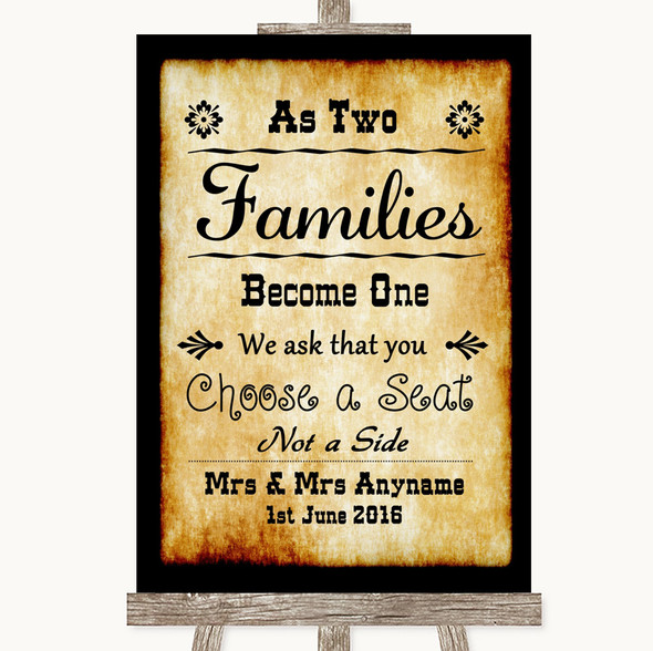 Western As Families Become One Seating Plan Personalised Wedding Sign