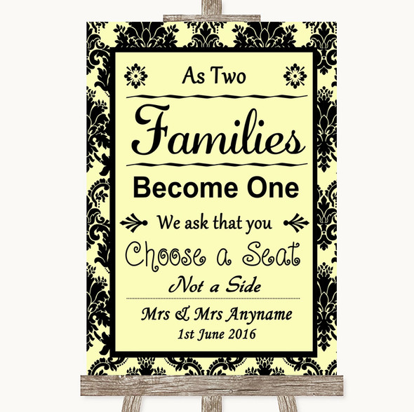 Yellow Damask As Families Become One Seating Plan Personalised Wedding Sign