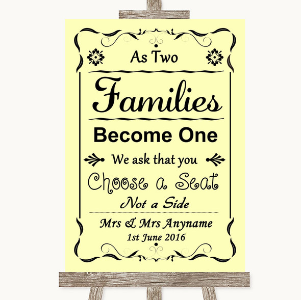 Yellow As Families Become One Seating Plan Personalised Wedding Sign