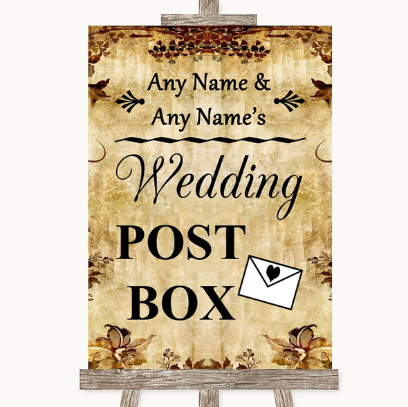 Autumn Vintage Card Post Box Personalised Wedding Sign