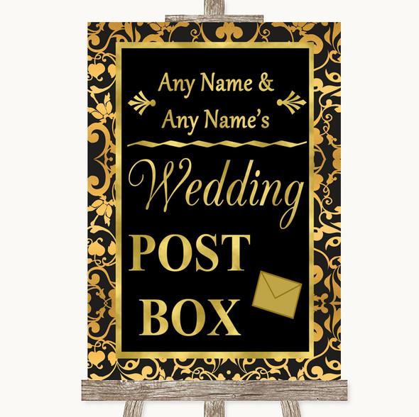Black & Gold Damask Card Post Box Personalised Wedding Sign