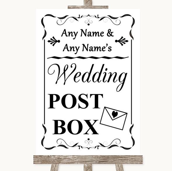 Black & White Card Post Box Personalised Wedding Sign