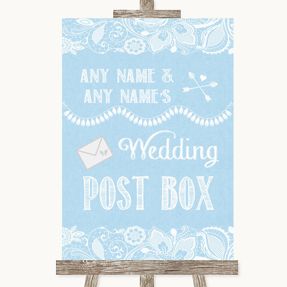 Blue Burlap & Lace Card Post Box Personalised Wedding Sign