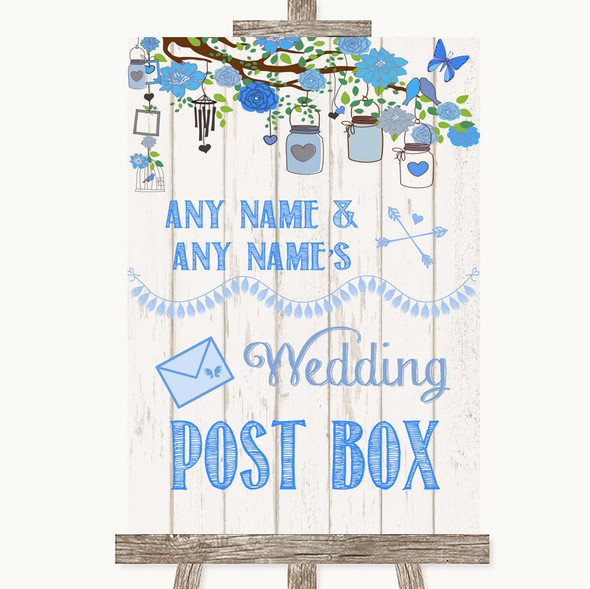Blue Rustic Wood Card Post Box Personalised Wedding Sign