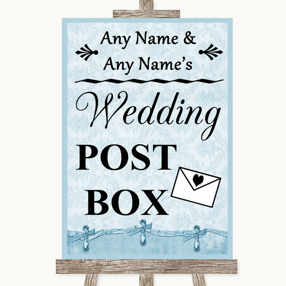 Blue Shabby Chic Card Post Box Personalised Wedding Sign