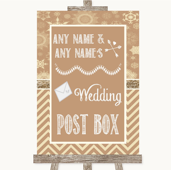 Brown Winter Card Post Box Personalised Wedding Sign