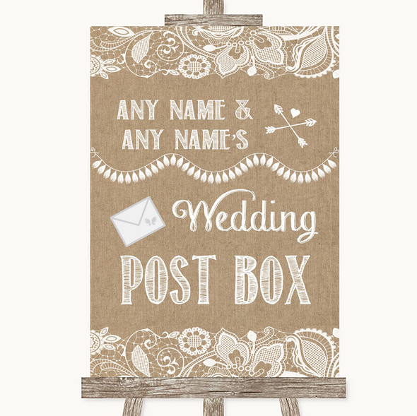 Burlap & Lace Card Post Box Personalised Wedding Sign