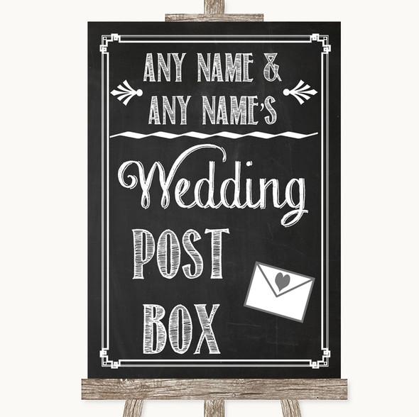 Chalk Sketch Card Post Box Personalised Wedding Sign