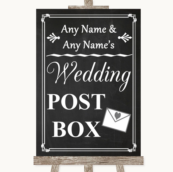 Chalk Style Card Post Box Personalised Wedding Sign