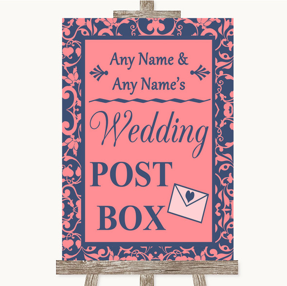 Coral Pink & Blue Card Post Box Personalised Wedding Sign
