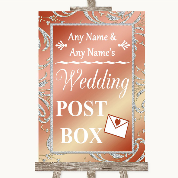Coral Pink Card Post Box Personalised Wedding Sign