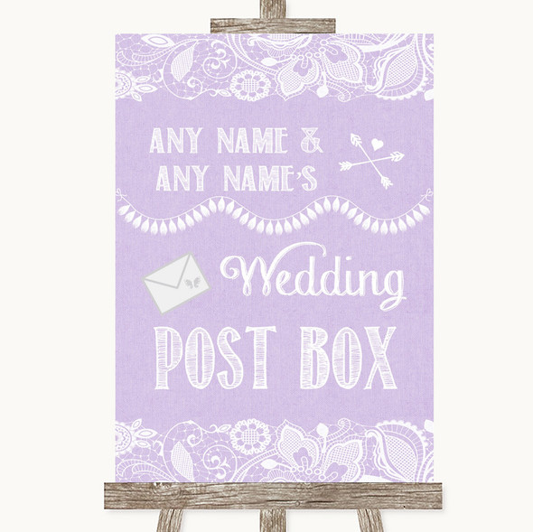 Lilac Burlap & Lace Card Post Box Personalised Wedding Sign