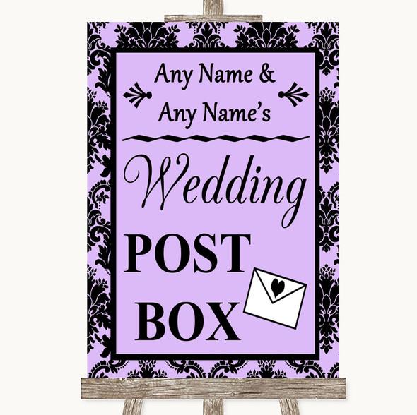 Lilac Damask Card Post Box Personalised Wedding Sign