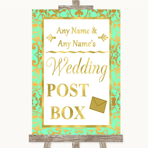 Mint Green & Gold Card Post Box Personalised Wedding Sign