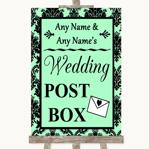 Mint Green Damask Card Post Box Personalised Wedding Sign