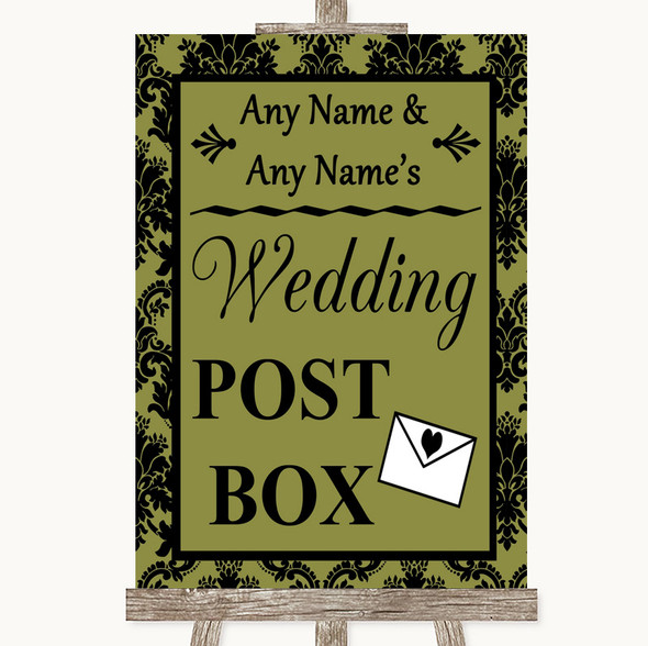 Olive Green Damask Card Post Box Personalised Wedding Sign