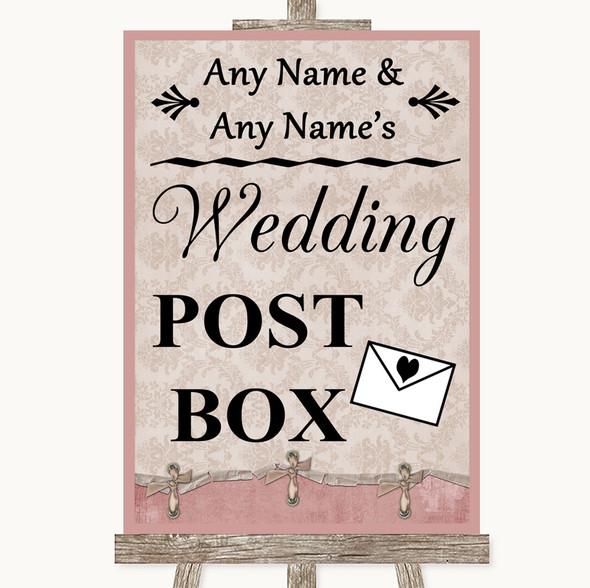 Pink Shabby Chic Card Post Box Personalised Wedding Sign