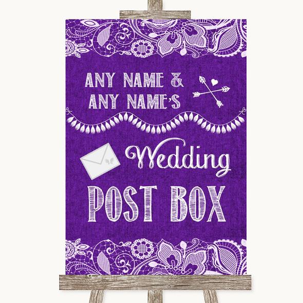 Purple Burlap & Lace Card Post Box Personalised Wedding Sign