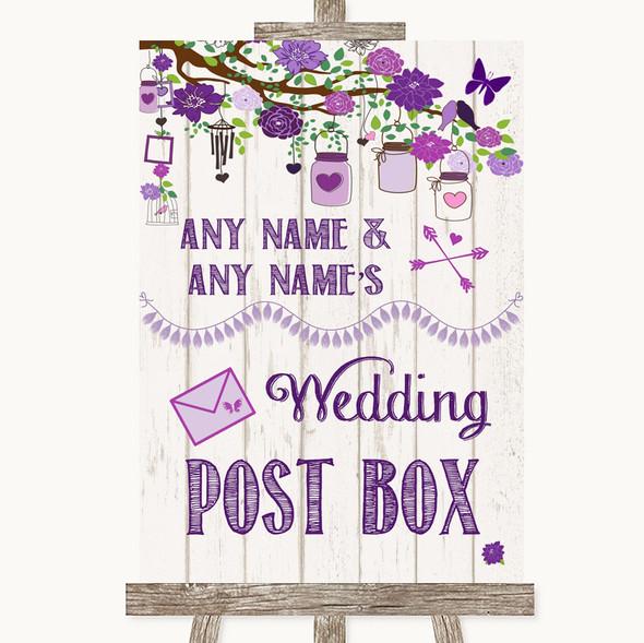 Purple Rustic Wood Card Post Box Personalised Wedding Sign