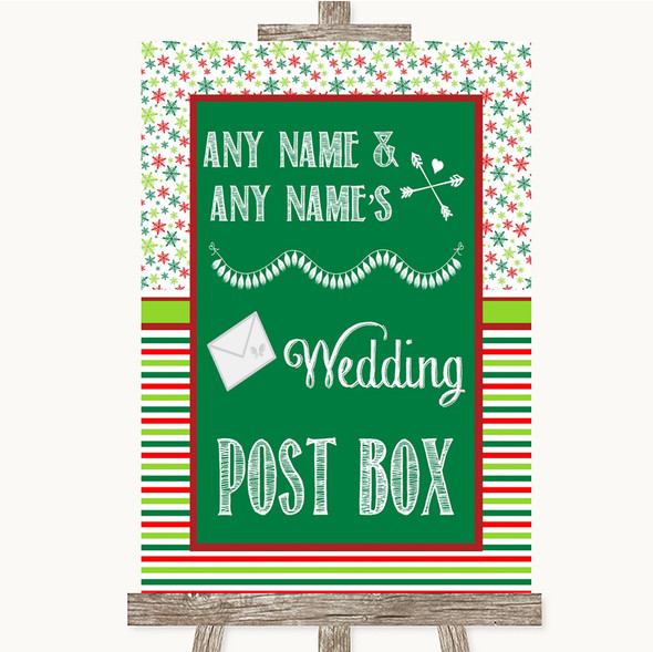 Red & Green Winter Card Post Box Personalised Wedding Sign