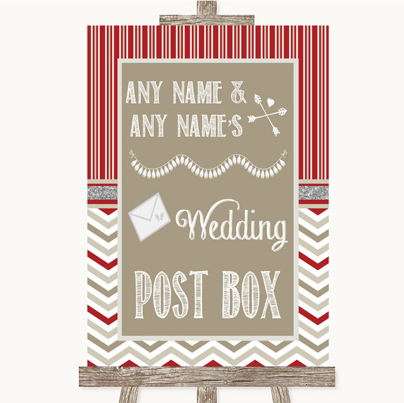 Red & Grey Winter Card Post Box Personalised Wedding Sign