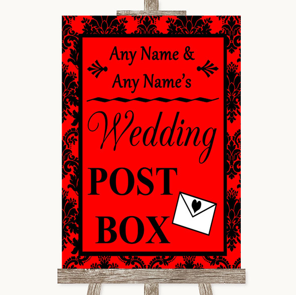 Red Damask Card Post Box Personalised Wedding Sign