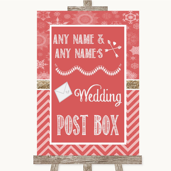 Red Winter Card Post Box Personalised Wedding Sign