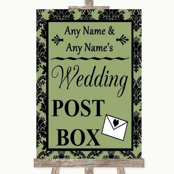 Sage Green Damask Card Post Box Personalised Wedding Sign