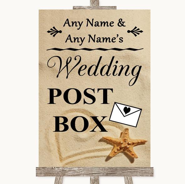 Sandy Beach Card Post Box Personalised Wedding Sign
