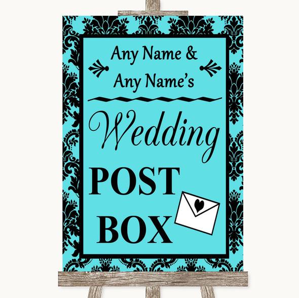 Tiffany Blue Damask Card Post Box Personalised Wedding Sign