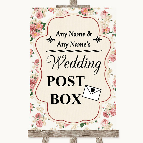 Vintage Roses Card Post Box Personalised Wedding Sign