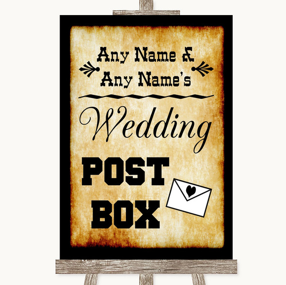 Western Card Post Box Personalised Wedding Sign