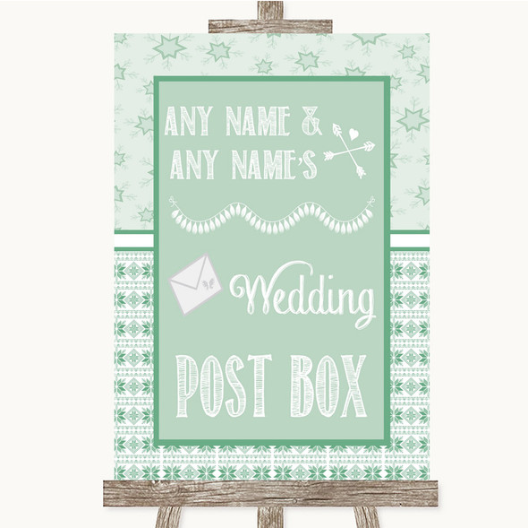 Winter Green Card Post Box Personalised Wedding Sign