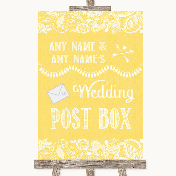 Yellow Burlap & Lace Card Post Box Personalised Wedding Sign