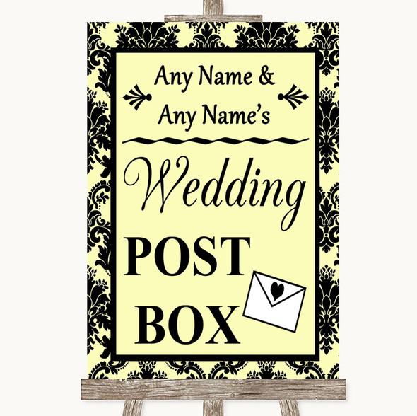 Yellow Damask Card Post Box Personalised Wedding Sign
