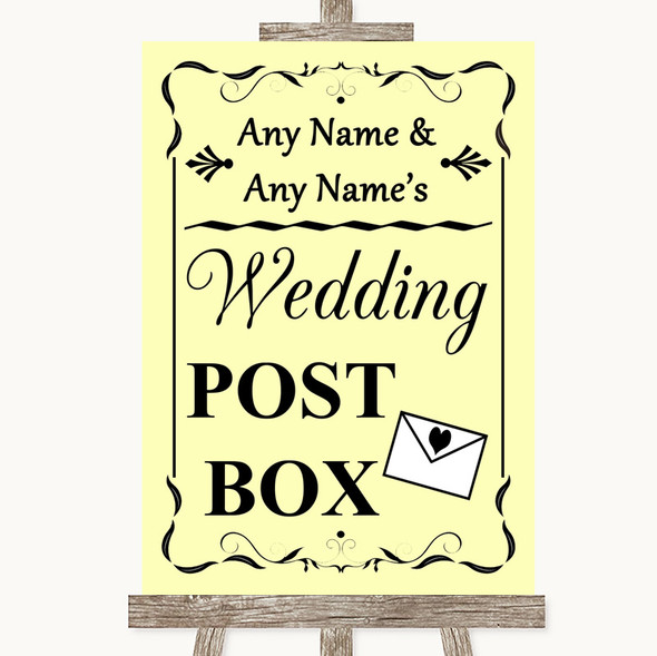Yellow Card Post Box Personalised Wedding Sign