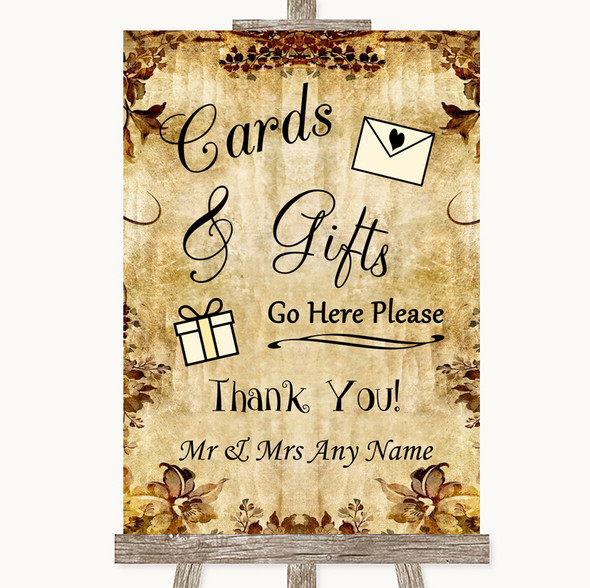 Autumn Vintage Cards & Gifts Table Personalised Wedding Sign