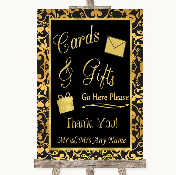Black & Gold Damask Cards & Gifts Table Personalised Wedding Sign