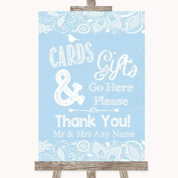 Blue Burlap & Lace Cards & Gifts Table Personalised Wedding Sign