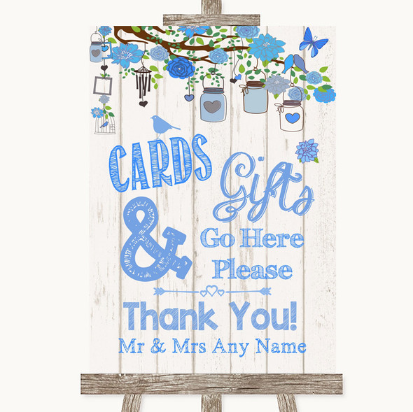 Blue Rustic Wood Cards & Gifts Table Personalised Wedding Sign