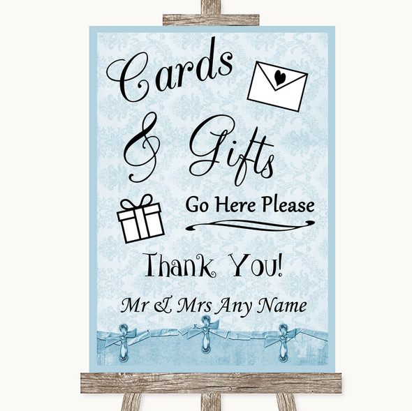 Blue Shabby Chic Cards & Gifts Table Personalised Wedding Sign