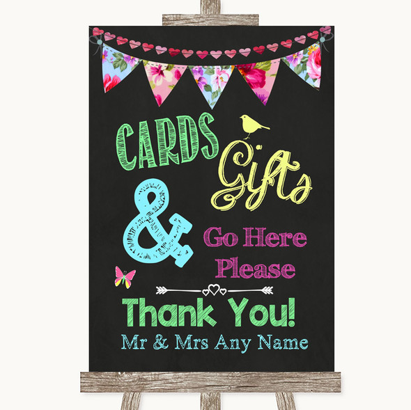 Bright Bunting Chalk Cards & Gifts Table Personalised Wedding Sign